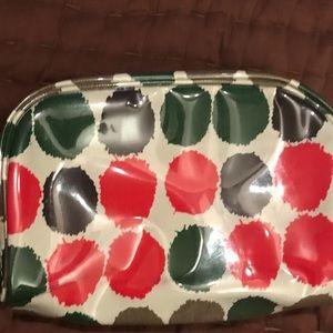 J. Crew plastic coated dots cosmetic case